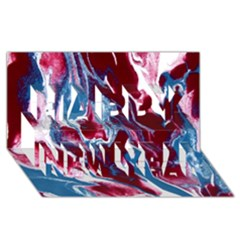 Blue Red White Marble Pattern Happy New Year 3D Greeting Card (8x4)