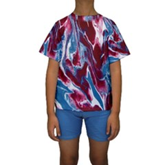 Blue Red White Marble Pattern Kid s Short Sleeve Swimwear