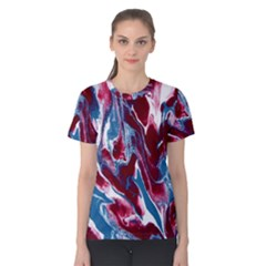 Blue Red White Marble Pattern Women s Cotton Tee
