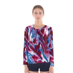 Blue Red White Marble Pattern Women s Long Sleeve T-shirts