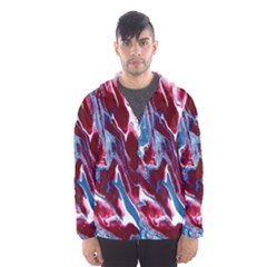 Blue Red White Marble Pattern Hooded Wind Breaker (Men)