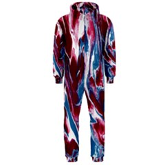Blue Red White Marble Pattern Hooded Jumpsuit (Men)