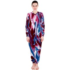 Blue Red White Marble Pattern Onepiece Jumpsuit (ladies)