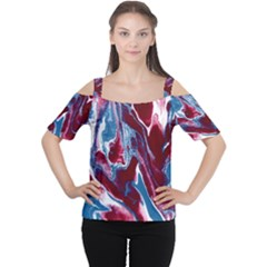 Blue Red White Marble Pattern Women s Cutout Shoulder Tee