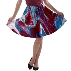 Blue Red White Marble Pattern A-line Skater Skirt