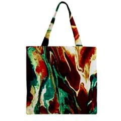 Brown Beige Marble Pattern Zipper Grocery Tote Bags