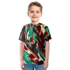 Brown Beige Marble Pattern Kid s Sport Mesh Tees