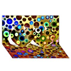 Colourful Circles Pattern Twin Hearts 3d Greeting Card (8x4)
