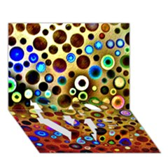 Colourful Circles Pattern LOVE Bottom 3D Greeting Card (7x5)