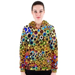 Colourful Circles Pattern Women s Zipper Hoodies