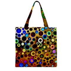 Colourful Circles Pattern Zipper Grocery Tote Bags