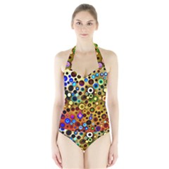 Colourful Circles Pattern Women s Halter One Piece Swimsuit