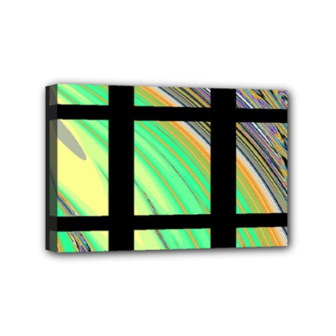 Black Window With Colorful Tiles Mini Canvas 6  X 4