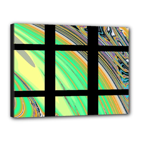 Black Window with Colorful Tiles Canvas 16  x 12