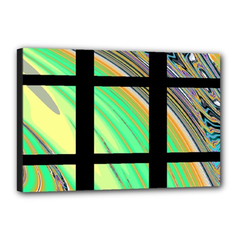Black Window with Colorful Tiles Canvas 18  x 12