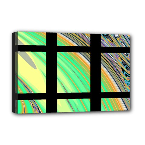 Black Window with Colorful Tiles Deluxe Canvas 18  x 12