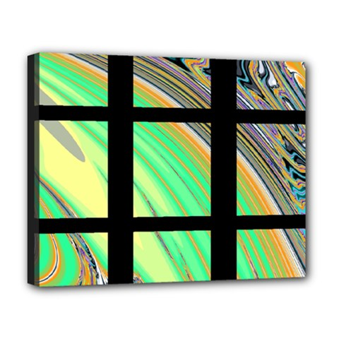 Black Window With Colorful Tiles Deluxe Canvas 20  X 16