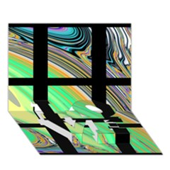 Black Window with Colorful Tiles LOVE Bottom 3D Greeting Card (7x5)