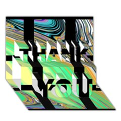Black Window with Colorful Tiles THANK YOU 3D Greeting Card (7x5)