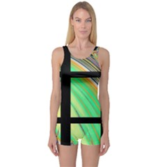Black Window With Colorful Tiles One Piece Boyleg Swimsuit
