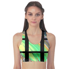 Black Window With Colorful Tiles Sports Bra
