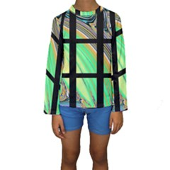Black Window with Colorful Tiles Kid s Long Sleeve Swimwear
