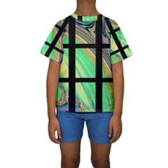 Black Window with Colorful Tiles Kid s Short Sleeve Swimwear