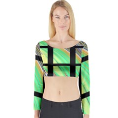 Black Window With Colorful Tiles Long Sleeve Crop Top