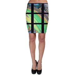 Black Window With Colorful Tiles Bodycon Skirts