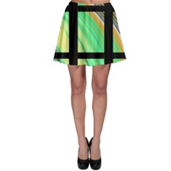 Black Window with Colorful Tiles Skater Skirts