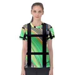 Black Window With Colorful Tiles Women s Sport Mesh Tees