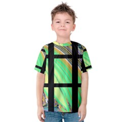 Black Window With Colorful Tiles Kid s Cotton Tee