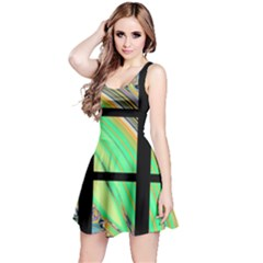 Black Window with Colorful Tiles Reversible Sleeveless Dresses