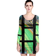 Black Window with Colorful Tiles Long Sleeve Bodycon Dresses