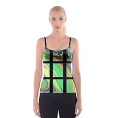 Black Window With Colorful Tiles Spaghetti Strap Tops