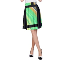 Black Window with Colorful Tiles A-Line Skirt