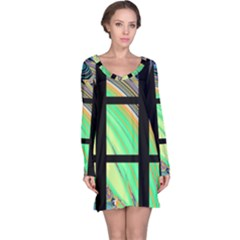 Black Window With Colorful Tiles Long Sleeve Nightdresses