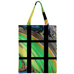 Black Window With Colorful Tiles Zipper Classic Tote Bags