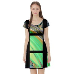 Black Window With Colorful Tiles Short Sleeve Skater Dresses