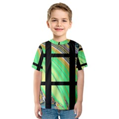 Black Window with Colorful Tiles Kid s Sport Mesh Tees