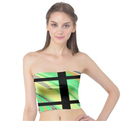 Black Window With Colorful Tiles Women s Tube Tops
