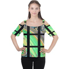 Black Window With Colorful Tiles Women s Cutout Shoulder Tee
