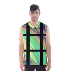 Black Window With Colorful Tiles Men s Basketball Tank Top