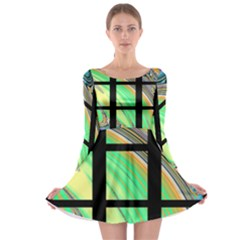 Black Window With Colorful Tiles Long Sleeve Skater Dress