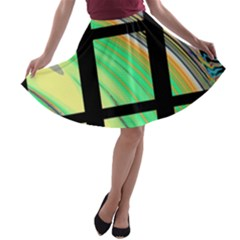 Black Window With Colorful Tiles A Line Skater Skirt