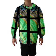 Black Window with Colorful Tiles Hooded Wind Breaker (Kids)