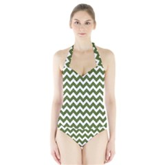 Chevron Pattern Gifts Women s Halter One Piece Swimsuit