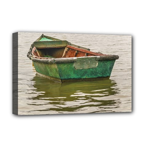 Old Fishing Boat At Santa Lucia River In Montevideo Deluxe Canvas 18  x 12
