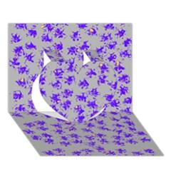 Purple Pattern Heart 3d Greeting Card (7x5)