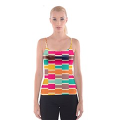 Connected Colorful Rectangles Spaghetti Strap Top